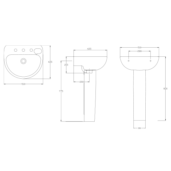 9507794 DWG American Standard Studio Wall Basin with Fixing Kit 1 Taphole 500mm White