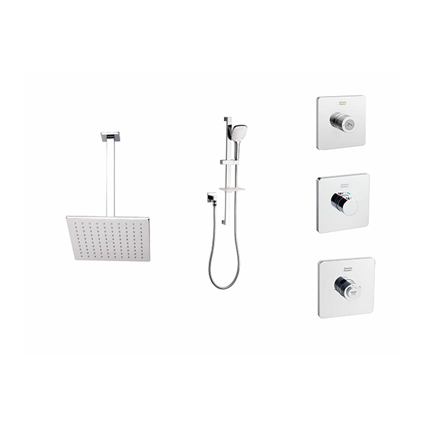 EasySET Thermo Controller Cygnet Square Overhead Rail Shower