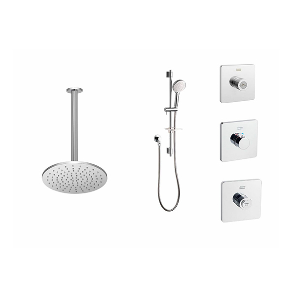 EasySET Thermo Controller Cygnet Round Overhead Rail Shower