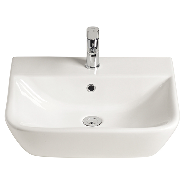 Cygnet Wall Basin One Taphole 550mm with Fixing Kit White