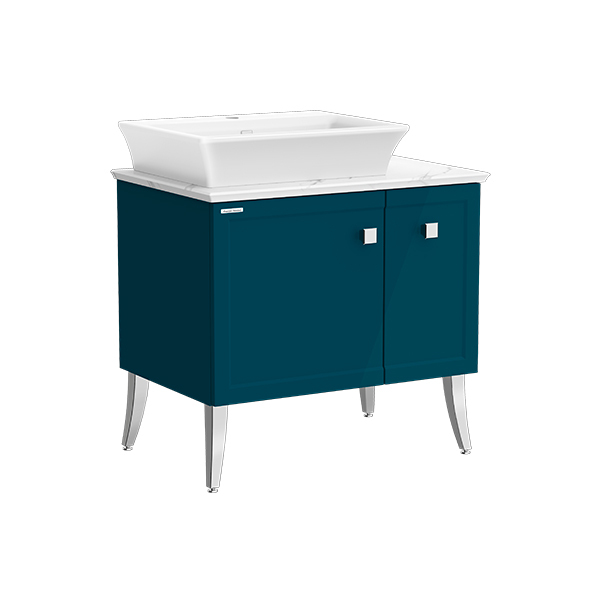Classic Chic FSD 800mm 1 door 1 drawer vanity(Midnight Blue one hole vessel )