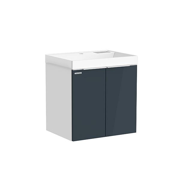City WH 600mm 1 door 1 drawer vanity(Shadow Gray,side Matte white R door,one hole)
