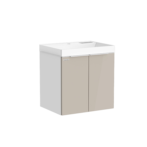 City WH 600mm 1 door 1 drawer vanity (Cathedral Gray,side Matte White, R door,one hole)