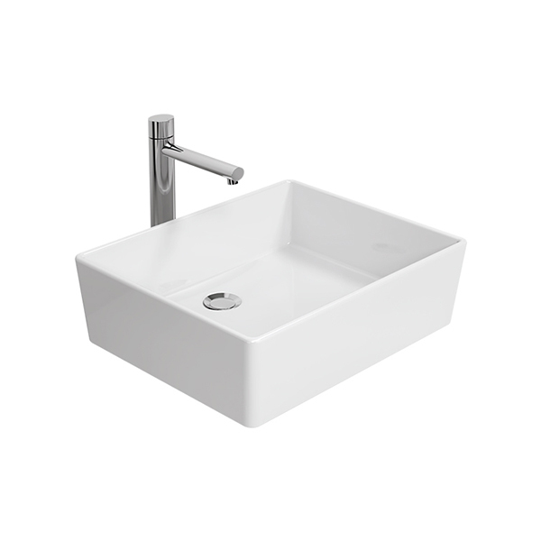 Thin Touch Square 50 Vessel Wash Basin (Countertop) - Long