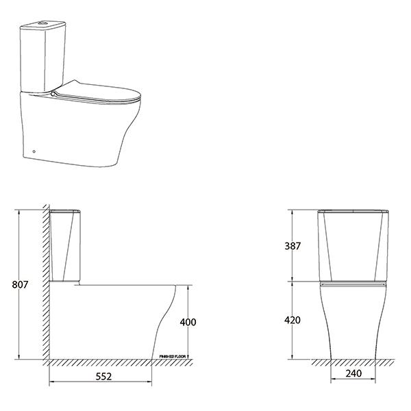 Cygnet Hygiene Rim Square Tank Top Inlet line