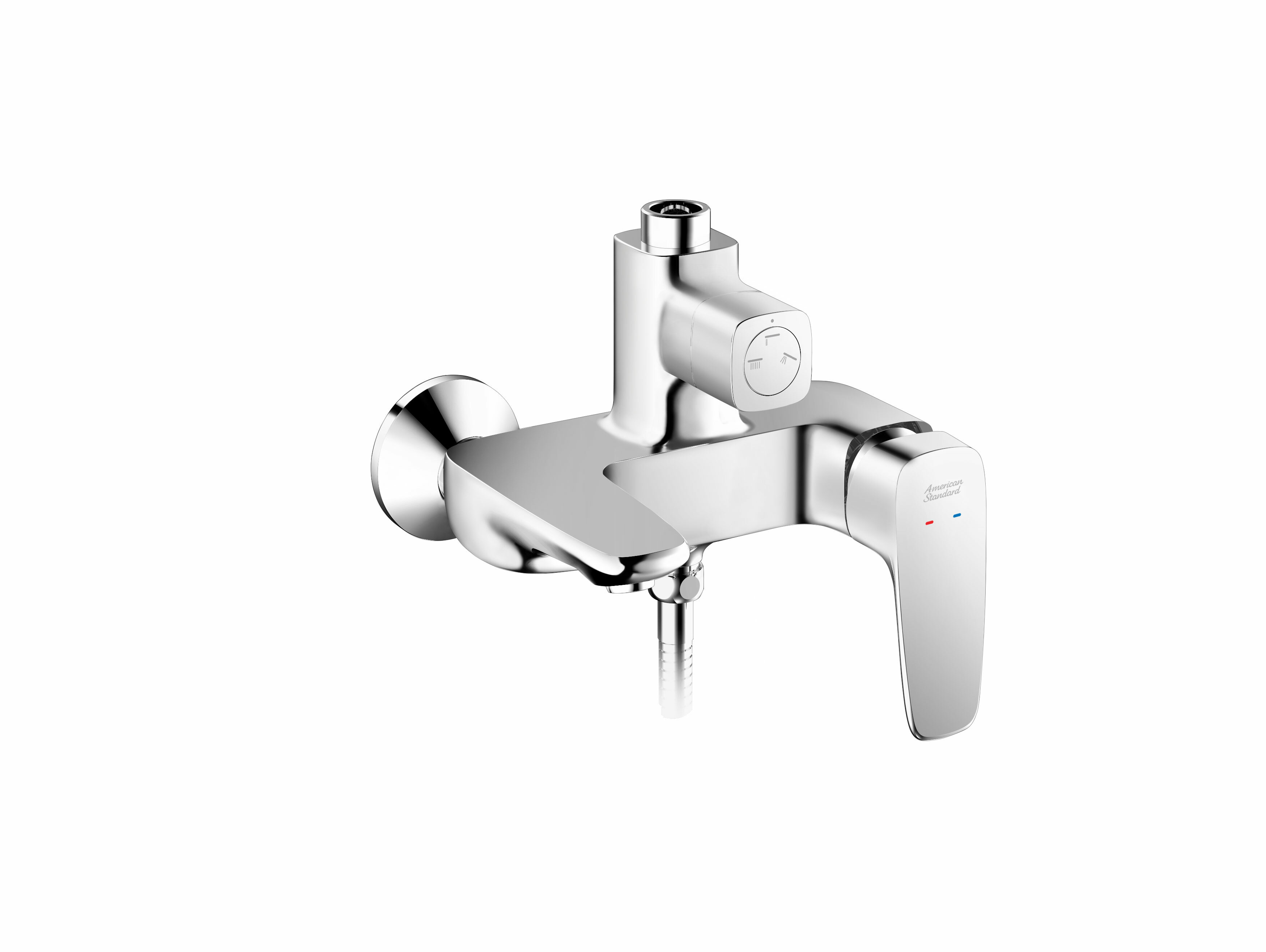 Signature exposed Bath & Shower mixer with integrated Rainshower kit